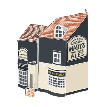 Little Pub Drawing - hand-drawn and digitally coloured